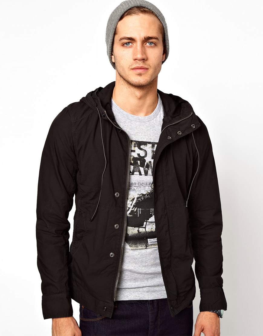 g star raw g star overshirt jacket dutton hooded zipfront in black for men lyst. Black Bedroom Furniture Sets. Home Design Ideas