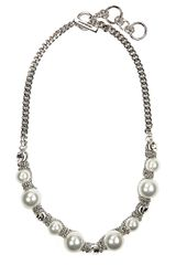 Givenchy Silvertone Toggle Necklace with Faux Pearls Crystal Accents - Lyst