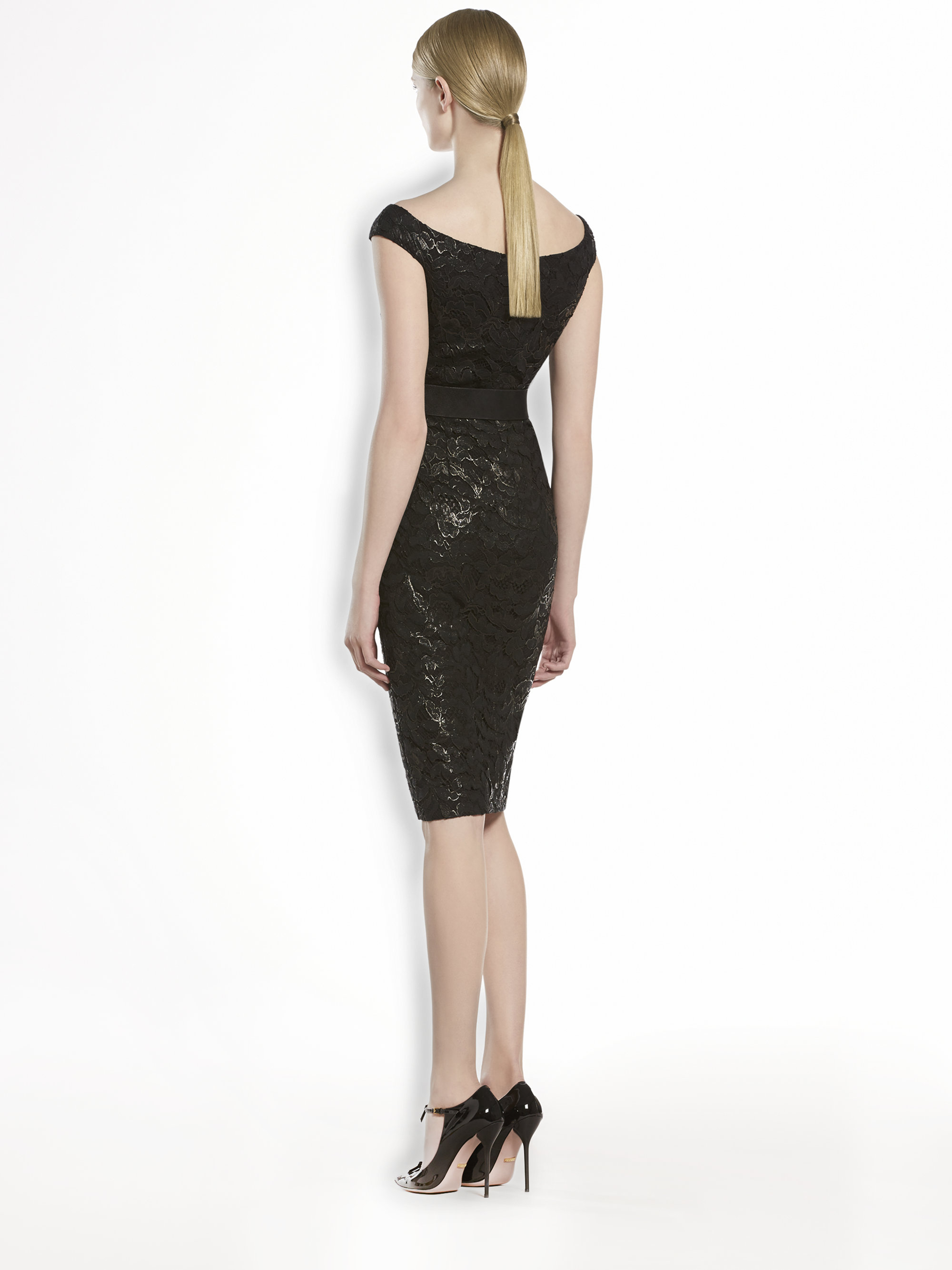 Lyst Gucci Lacquered Lace Shift Dress In Black