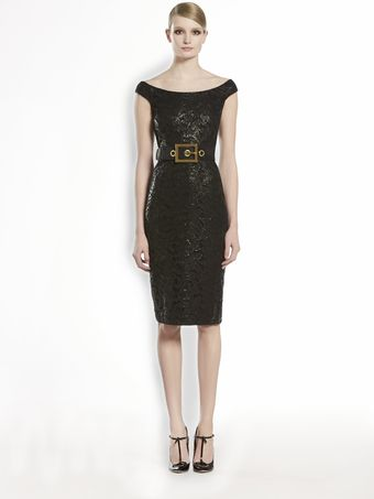 Gucci Lacquered Lace Shift Dress - Lyst