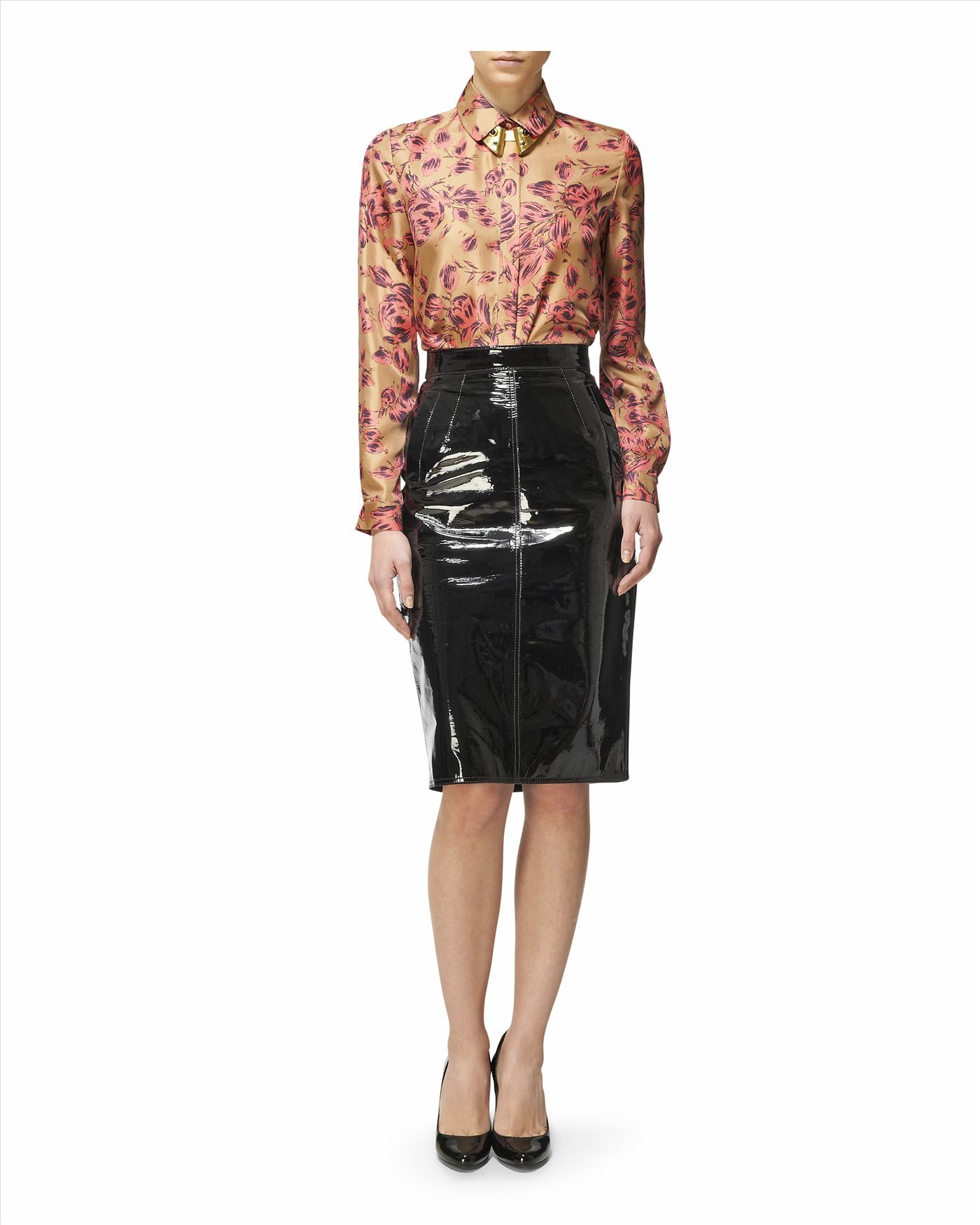 jaeger patent leather pencil skirt in black lyst