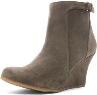 Lanvin Suede Wedge Bootie in Gray - Lyst