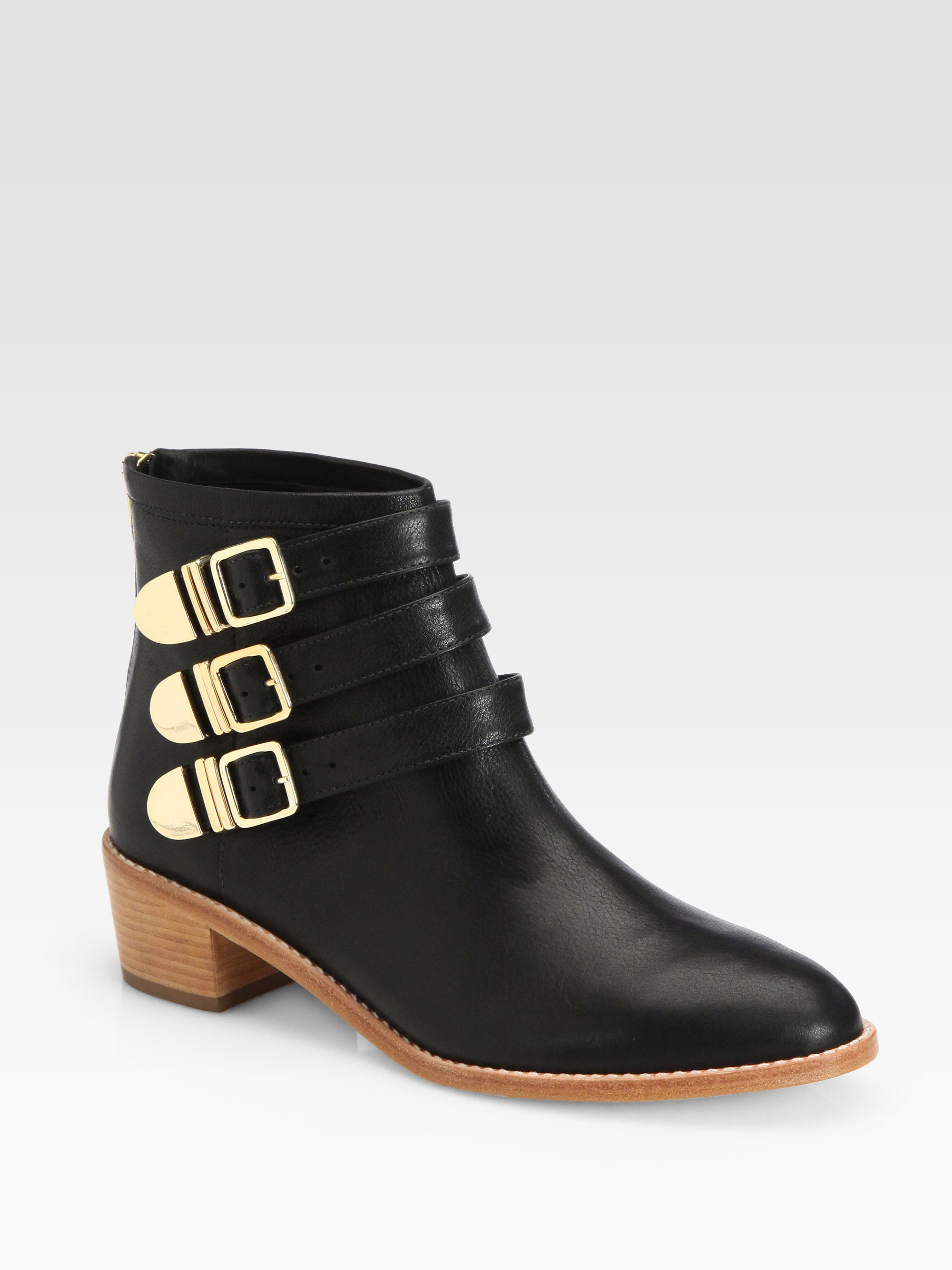 Loeffler randall Fenton Leather Buckle Ankle Boots in Black | Lyst