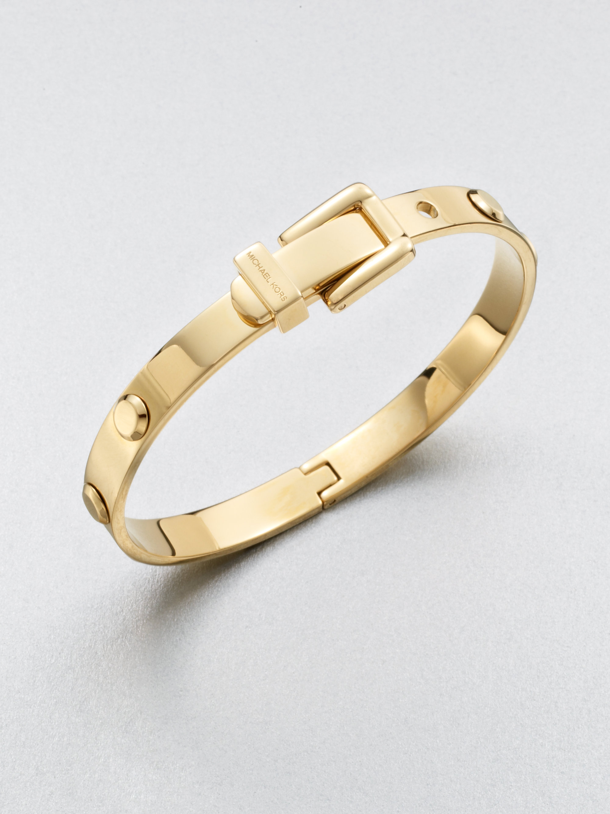 michael kors astor buckled rivet bangle braceletgoldtone