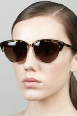 Oliver Peoples Alisha Half Cat Eye Sunglasses Brown - Lyst