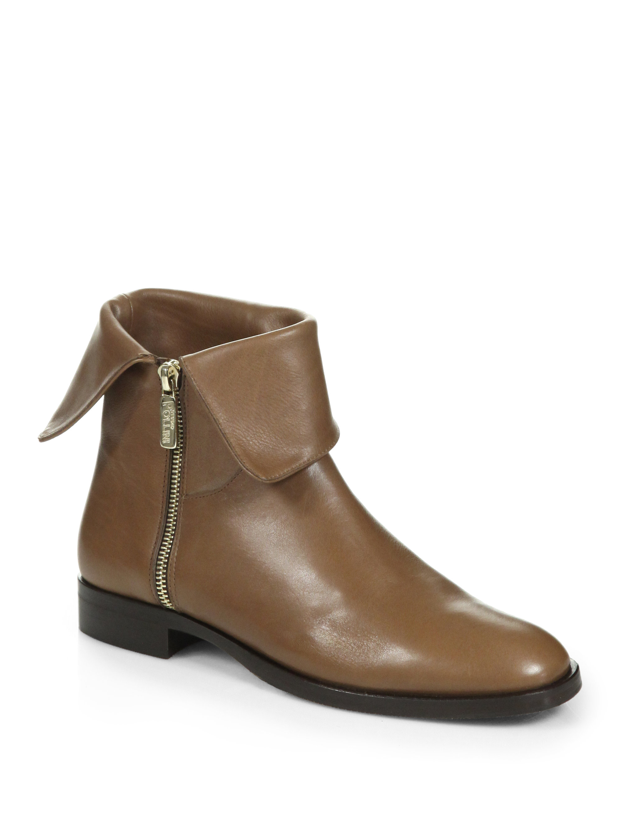 pollini foldover leather ankle boots in brown light brown