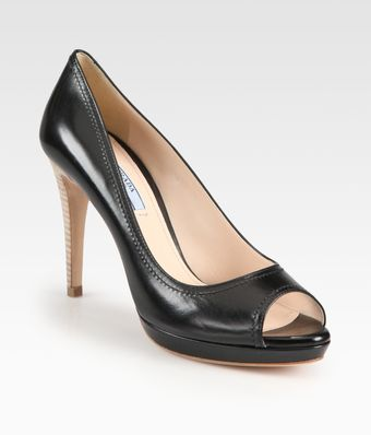 Prada Leather Stitched Trim Peeptoe Pumps - Lyst