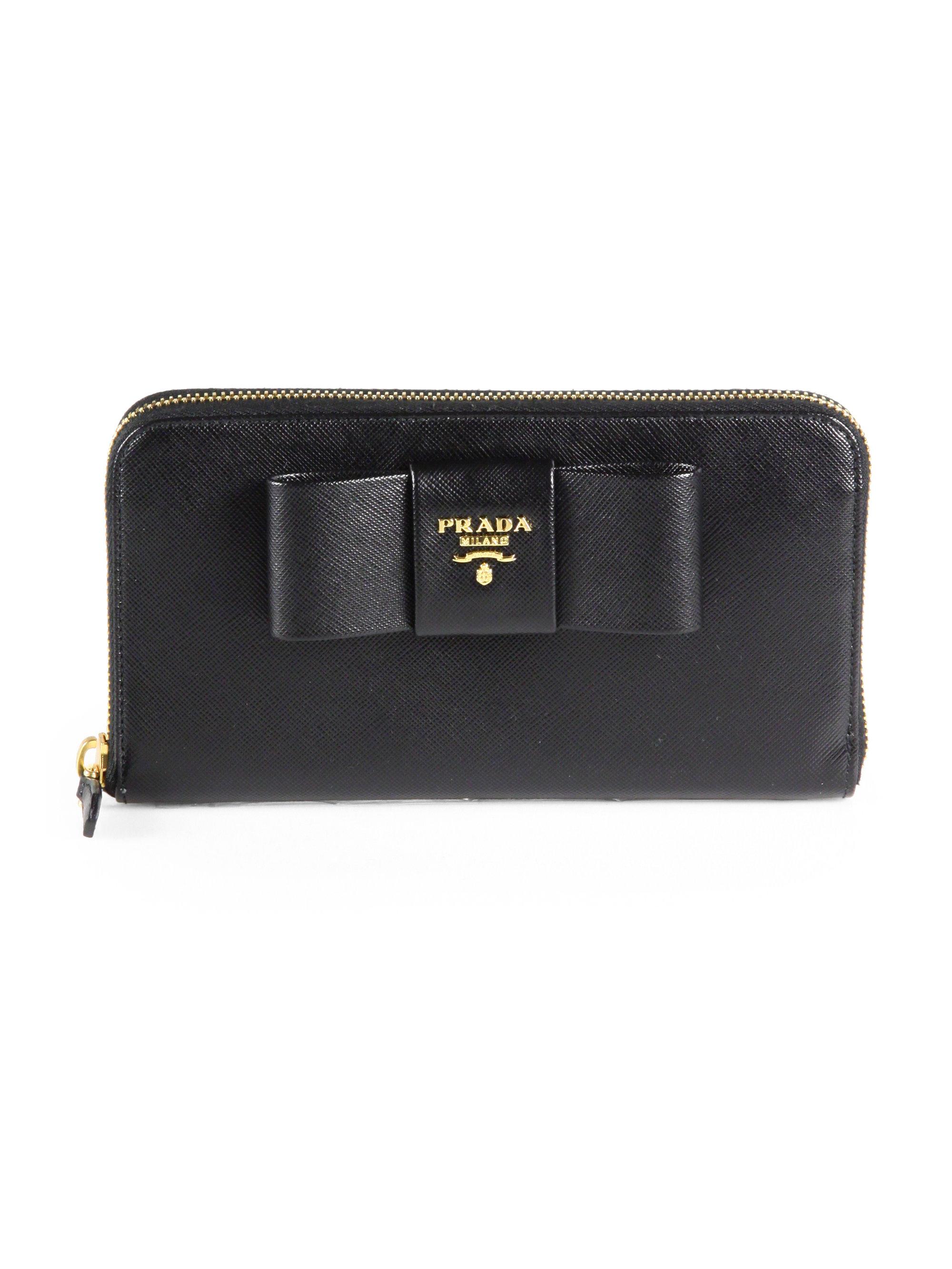 13edfd6292d5 Prada Saffiano Bow Zip-around Wallet in Black - Lyst