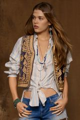 Ralph Lauren Embroidered Velvet Vest - Lyst