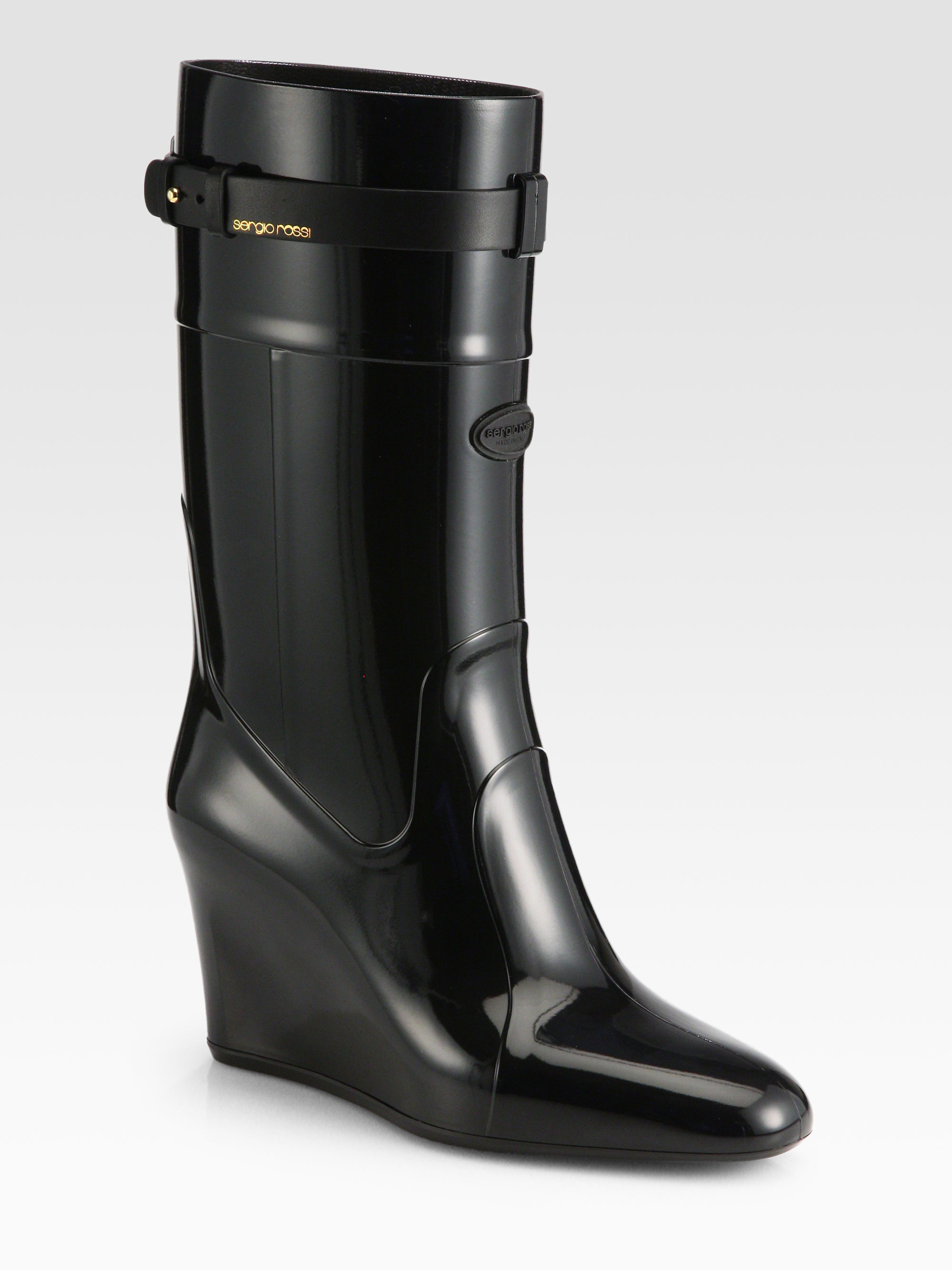Sergio rossi Rubber Wedge Rain Boots in Black | Lyst