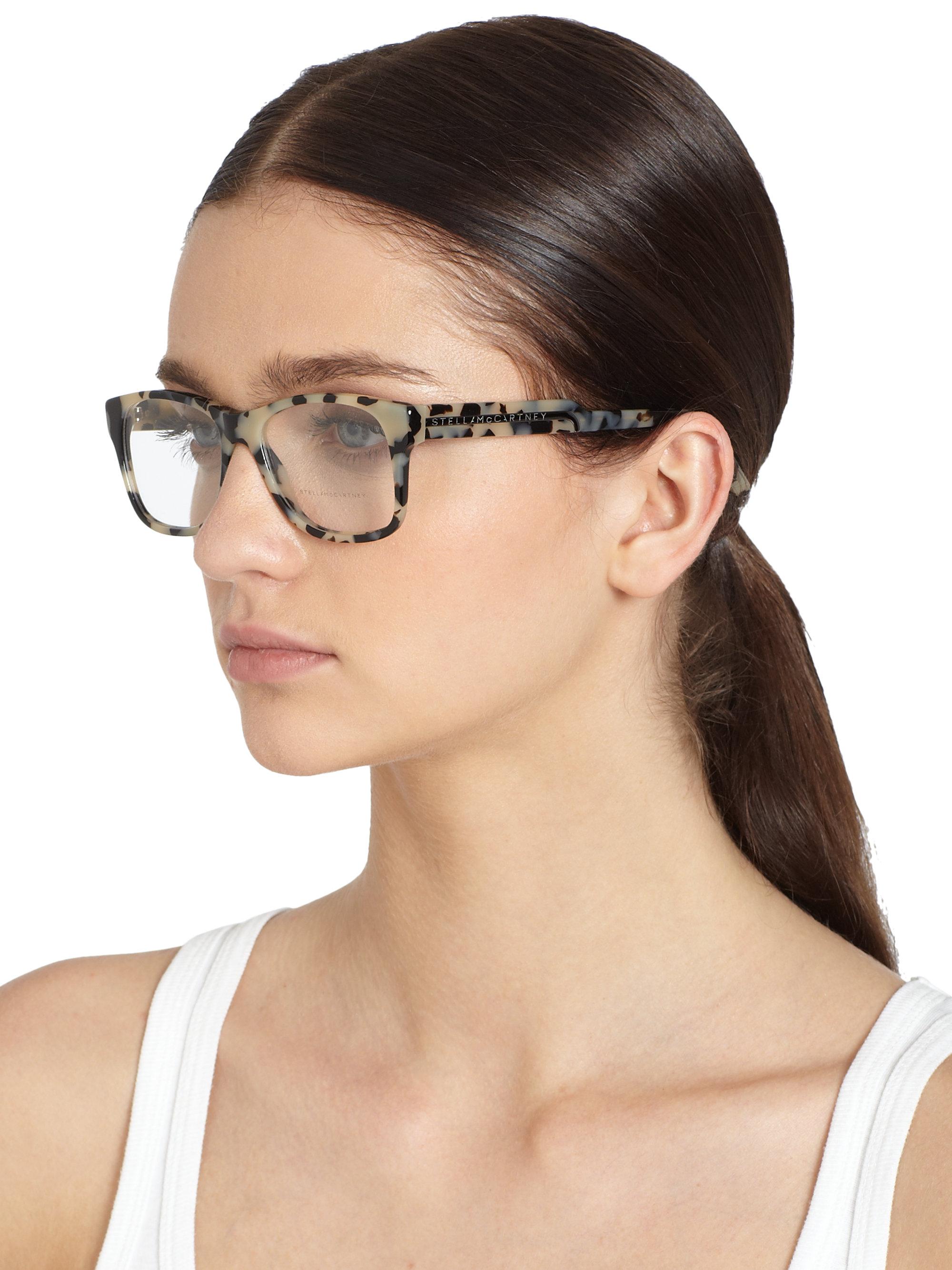 36eaec14b43db Stella McCartney Oversized Square Optical Glasses grey Tortoise ...