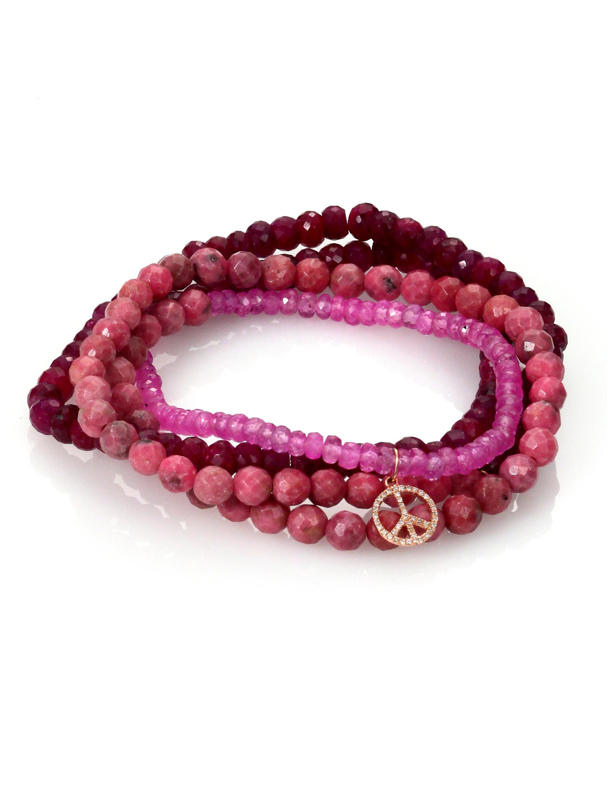 Sydney Evan Diamond Pink Sapphire And Rhodonite Bracelet ...