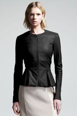 The Row Stretch Leather Peplum Jacket