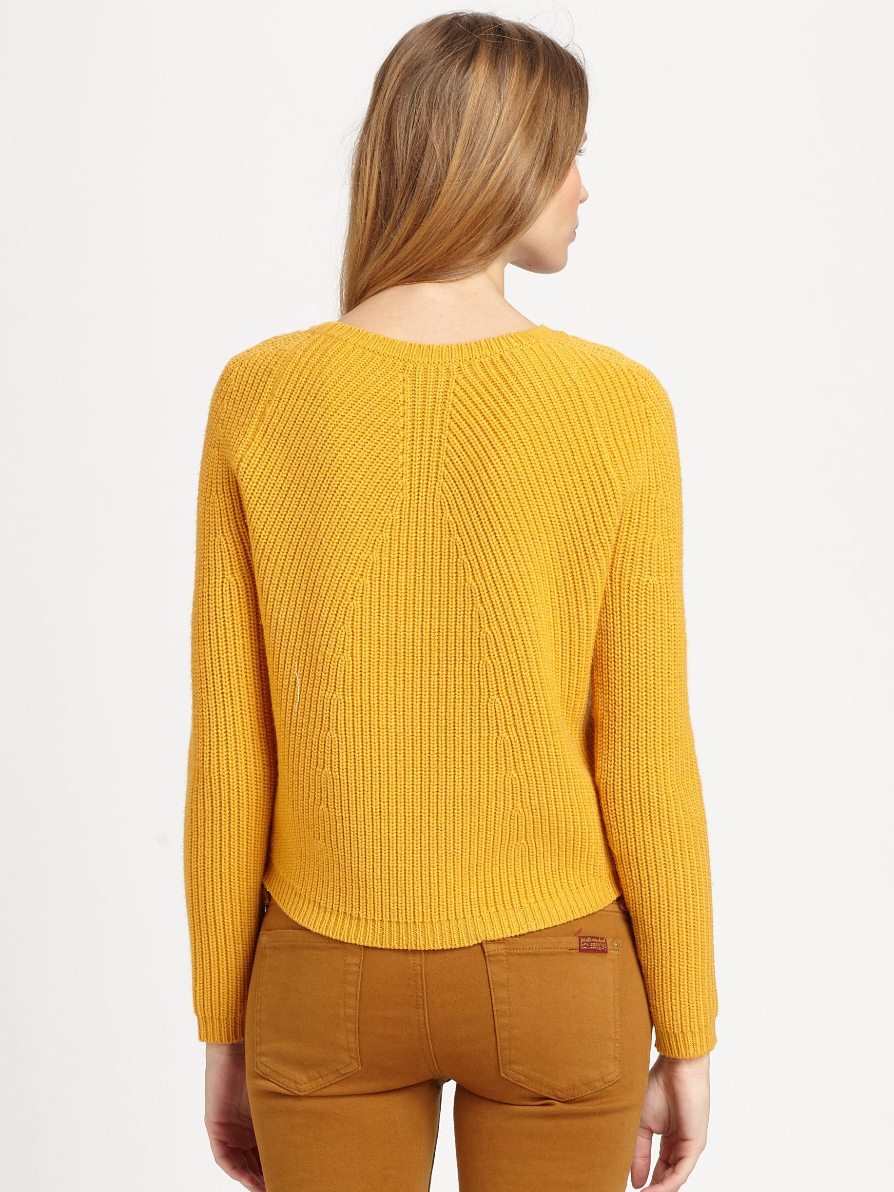 Theory Jaydee Wool Sweater in Yellow | Lyst