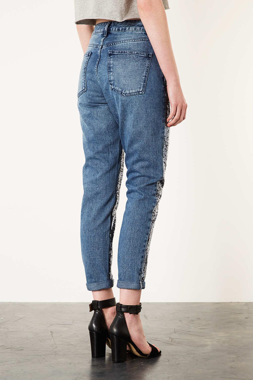 topshop moto sequin mom jeans in blue lyst. Black Bedroom Furniture Sets. Home Design Ideas