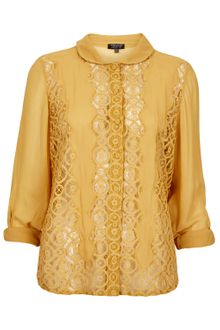 Topshop Geo Lace Rolled Sleeve Blouse - Lyst