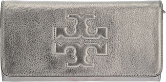 Tory Burch Raised Logo Clutch - Lyst