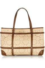Valentino Leather trimmed Canvas Tote - Lyst