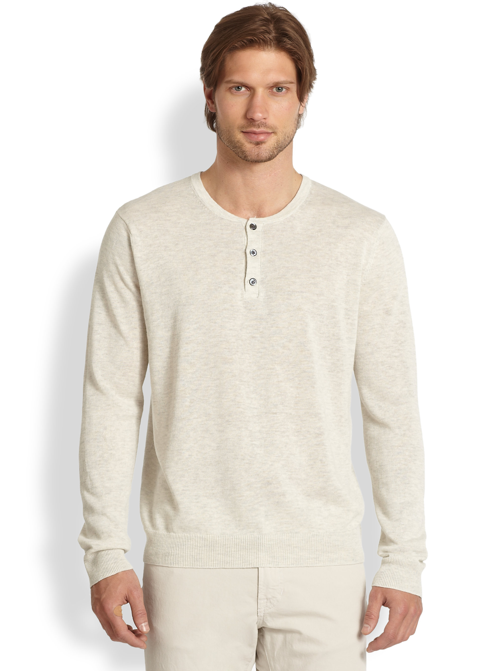 Lyst Vince Stretch Linen Henley Shirt In Natural For Men