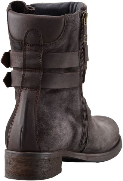 Alberto Fermani Suede Buckled Ankle Boot Anthracite In