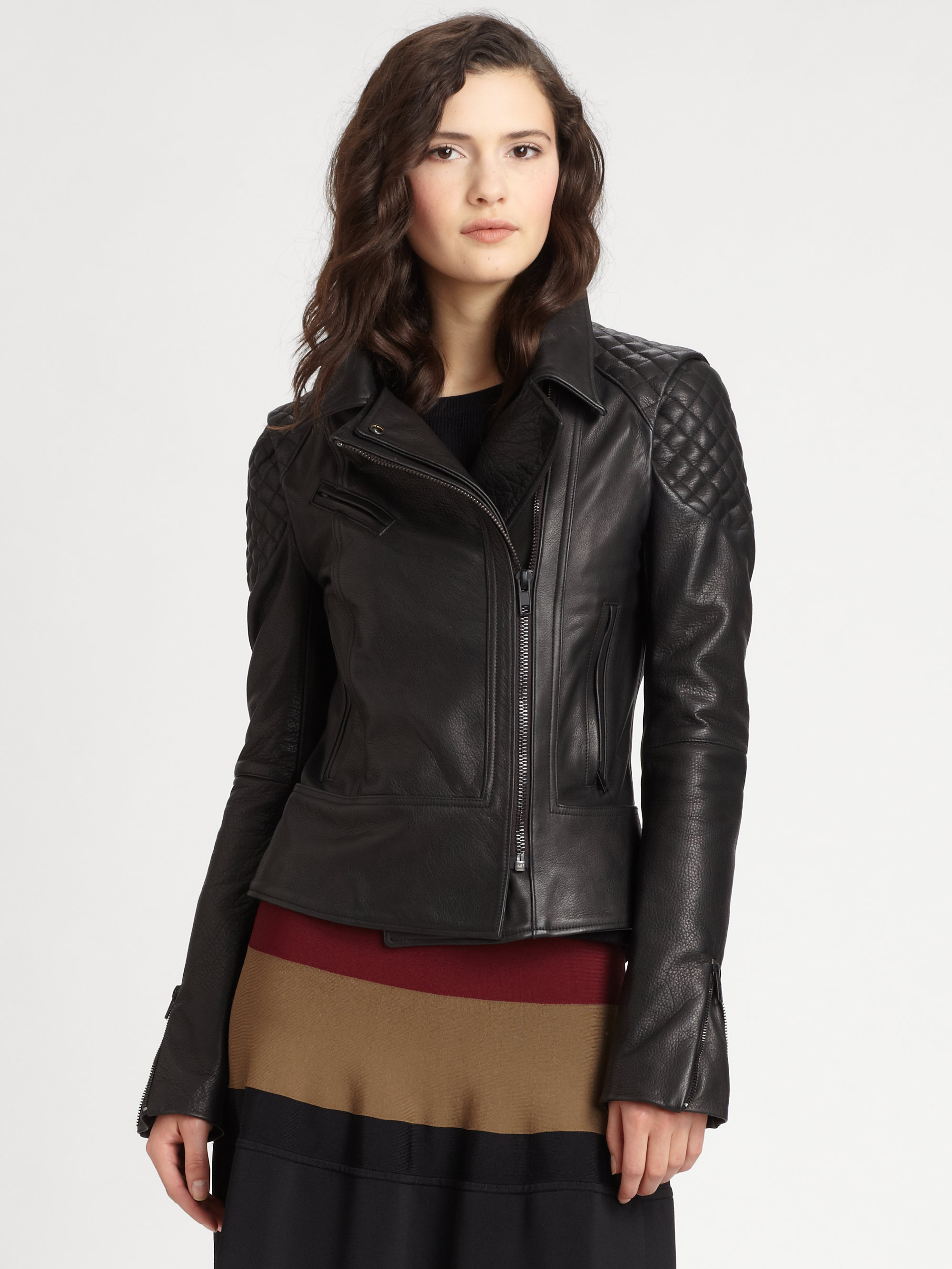 d3234191ac A.L.C. Tilber Quilted Leather Moto Jacket in Black - Lyst