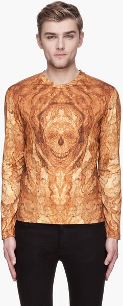Alexander McQueen Amber and Gold Wood Grain Skull Graphic Shirt - Lyst