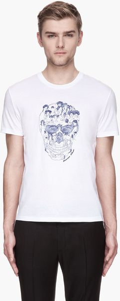 Alexander McQueen White Embroidered Muse Skull T-shirt - Lyst
