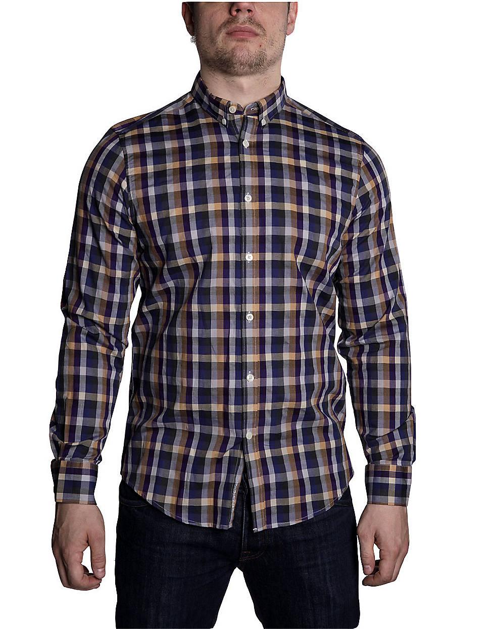 Ben Sherman Plaid Cotton Shirt In Blue For Men Lyst