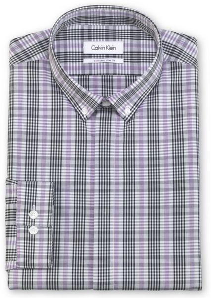 Calvin Klein Dress Shirt X Purple Black And Grey Plaid