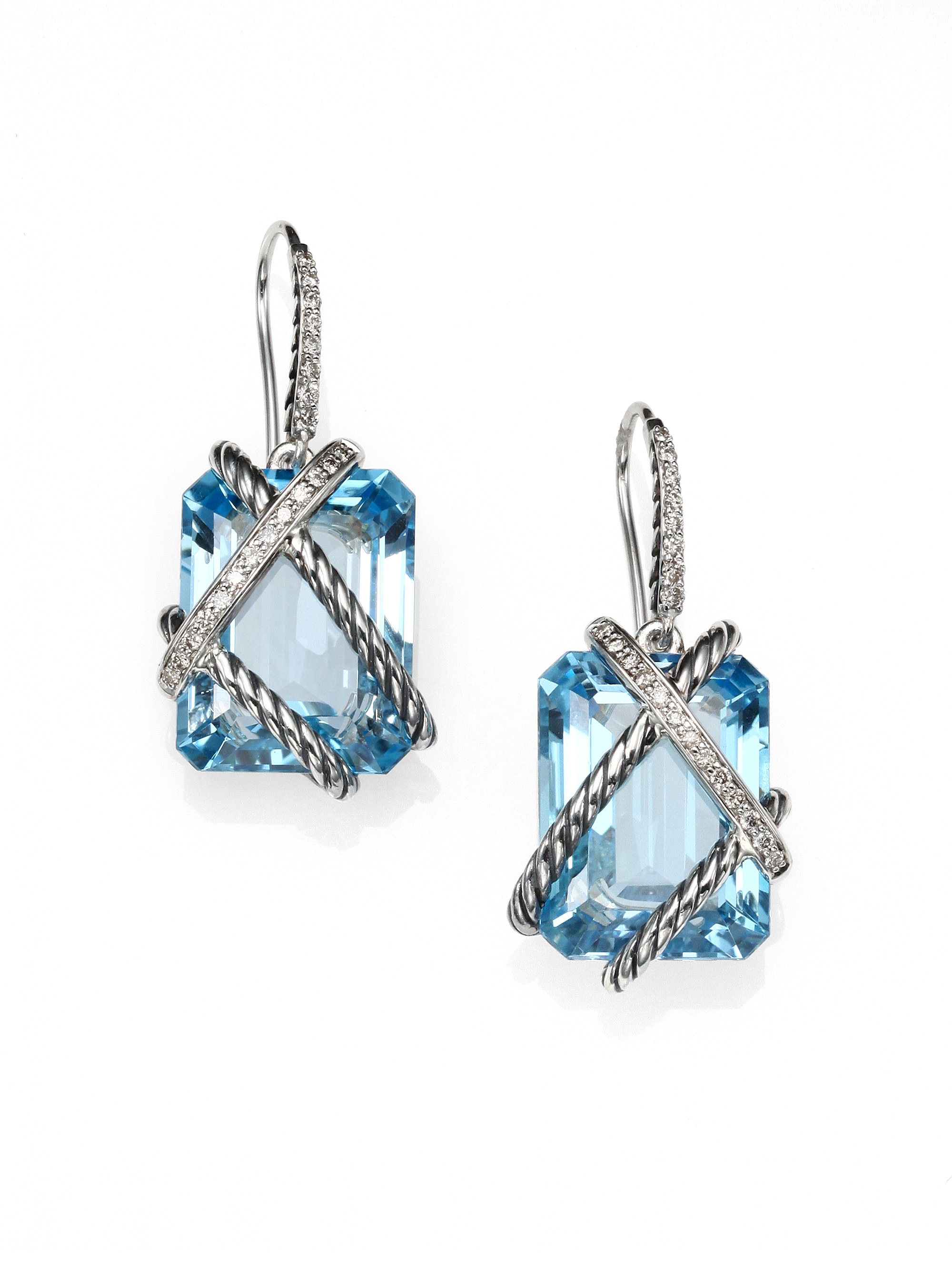david yurman blue topaz diamond sterling silver drop. Black Bedroom Furniture Sets. Home Design Ideas