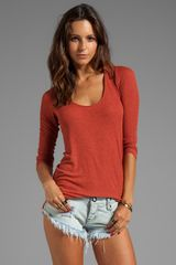 Dolan 2x1 Rib Long Sleeve Tee in Rust - Lyst