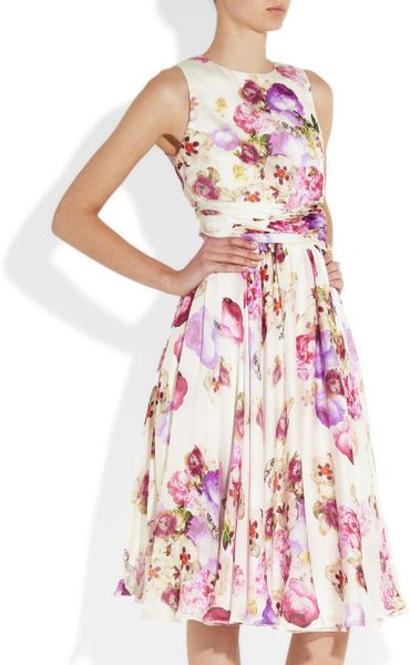Floral silk chiffon dress excited too