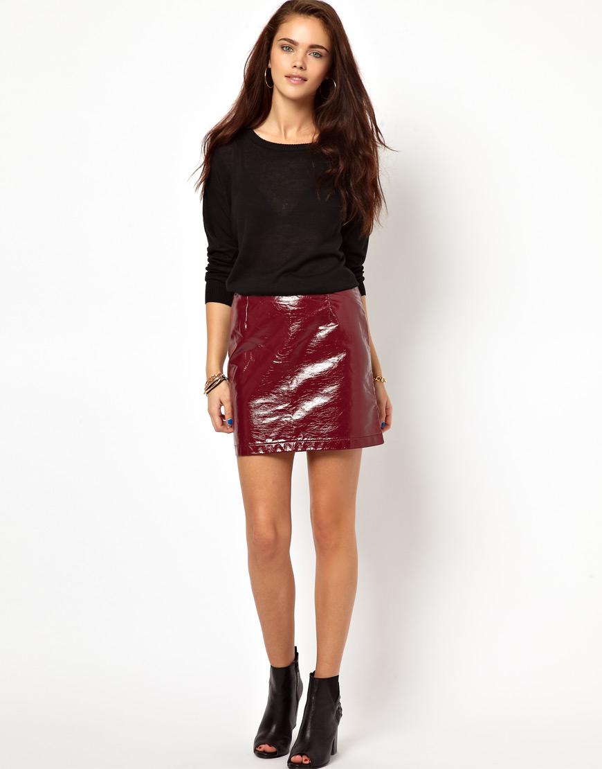 fcd937e964 Wine Leather Mini Skirt – DACC