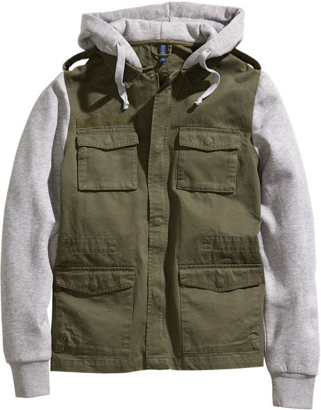 H&m Jacket with A Sweatshirt Hood in Green for Men (khaki green) - Lyst