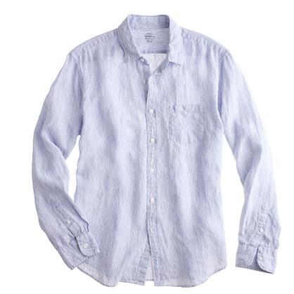 Tall irish linen shirt in thin stripe in blue for for Irish linen dress shirts