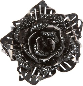 Lanvin Crystal Embellished Flower Ring - Lyst