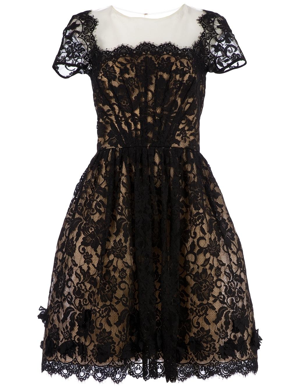lyst oscar de la renta organza lace cocktail dress in black. Black Bedroom Furniture Sets. Home Design Ideas