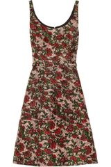 Oscar de la Renta Floral print Silk and Wool blend Dress - Lyst