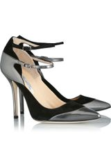 Oscar de la Renta Metallic Polishedleather and Suede Pumps - Lyst