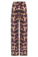 Saloni Iris Print Wide Leg Silk Trousers - Lyst