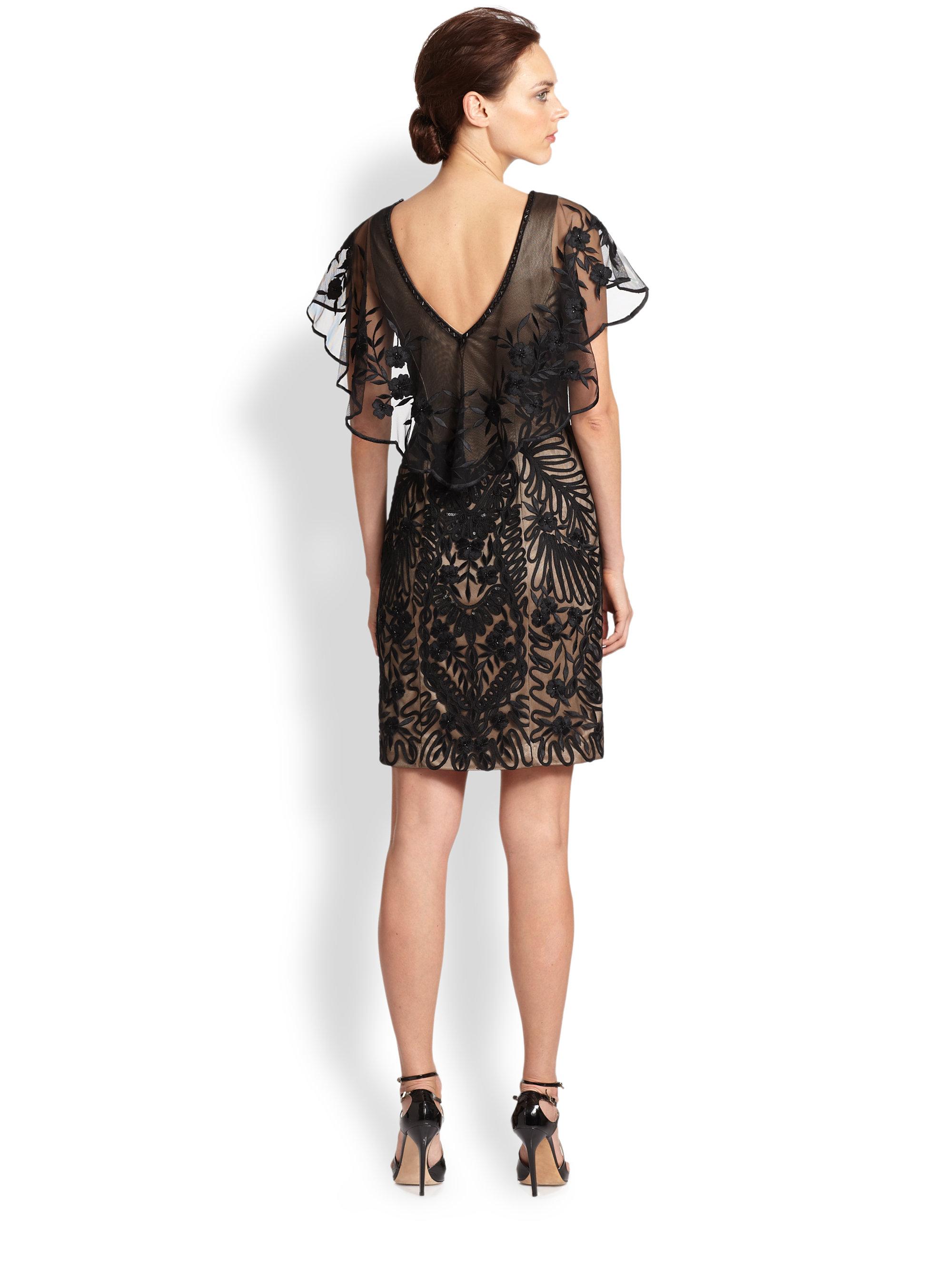 Sue Wong Sequin Ribbonembellished Capelet Dress In Black