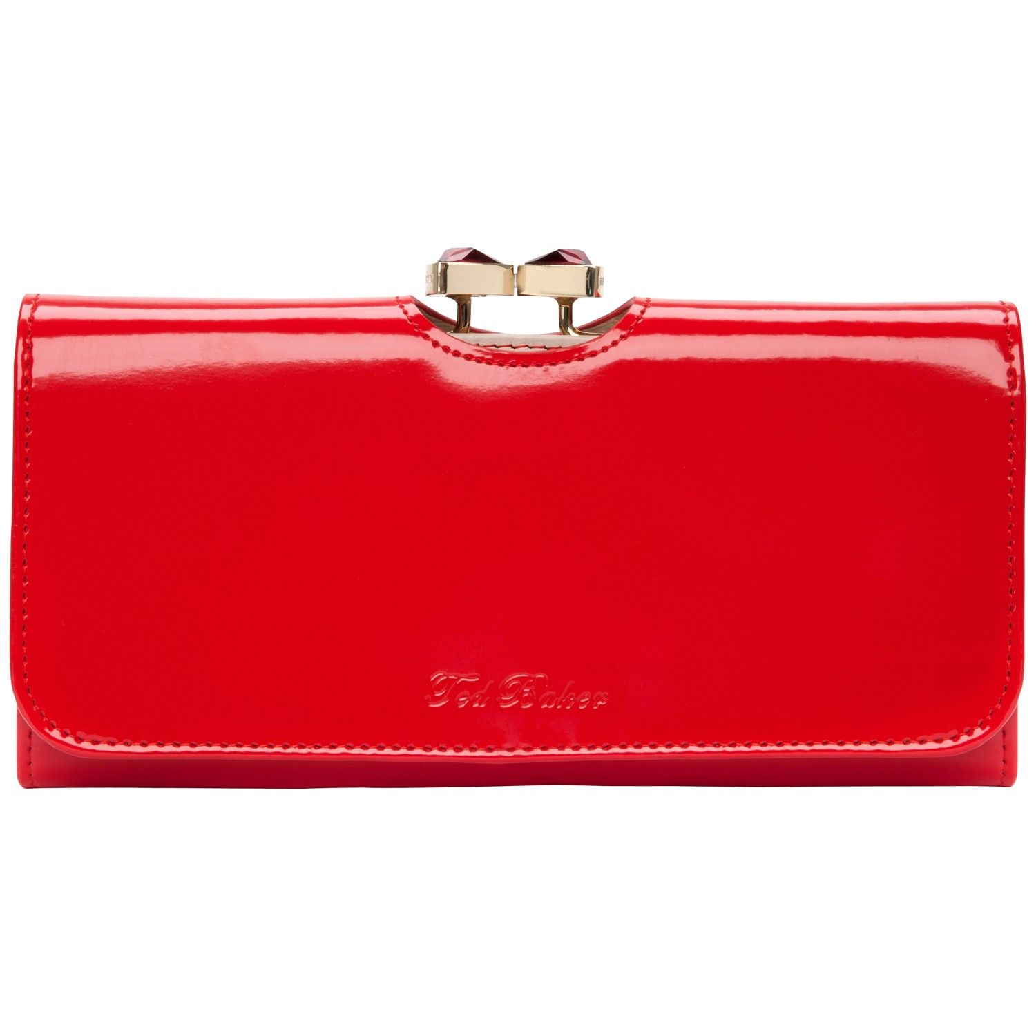 feee9cbcff5481 Ted Baker Iana Crystal Bow Bobble Patent Matinee Purse In Red Lyst