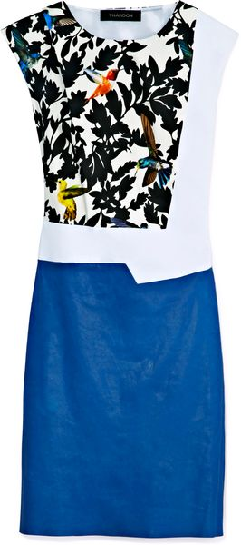 Thakoon Leather Panel Collage Dress - Lyst
