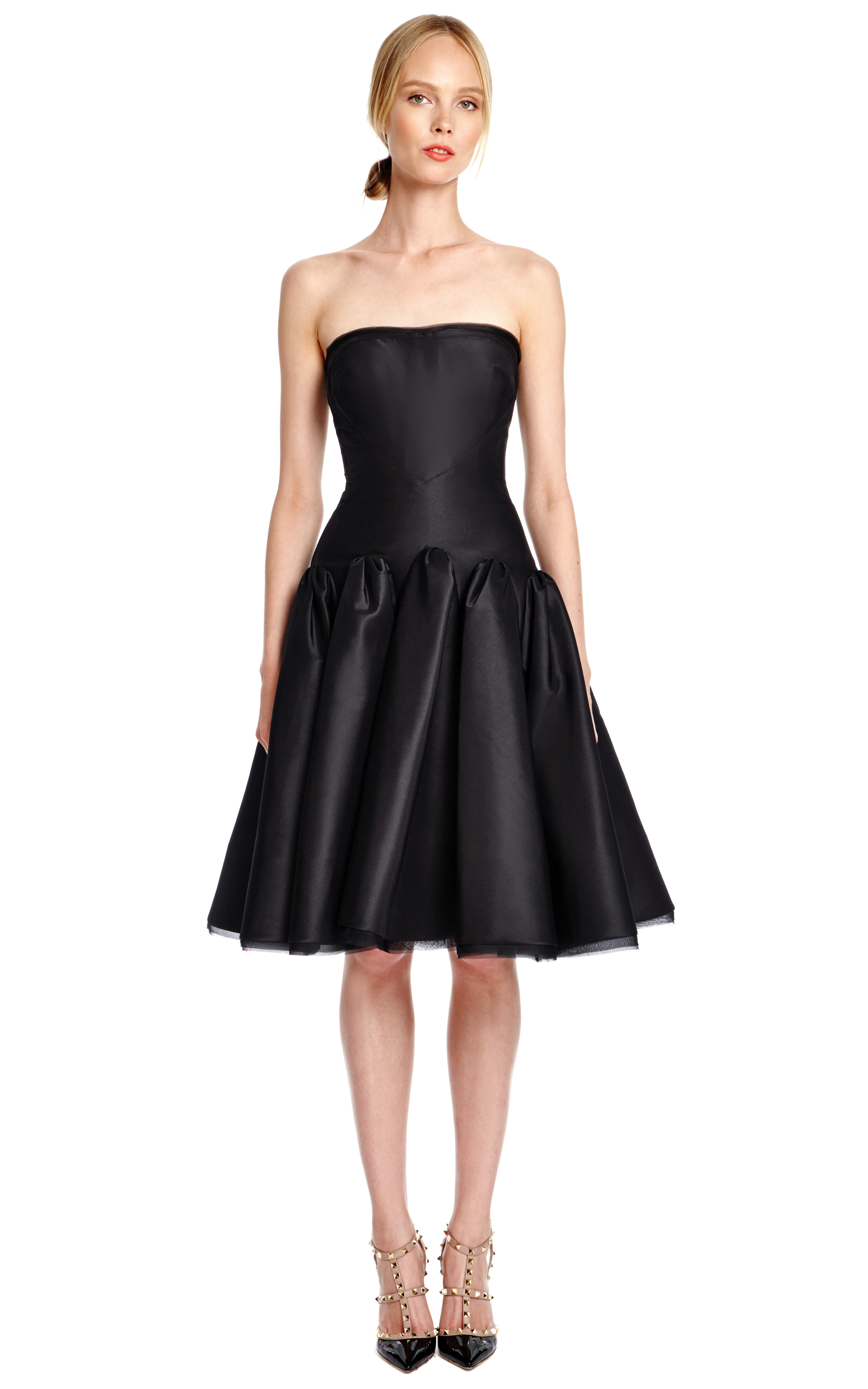Lyst - Zac Posen Silk Faille Strapless Cocktail Dress in Black