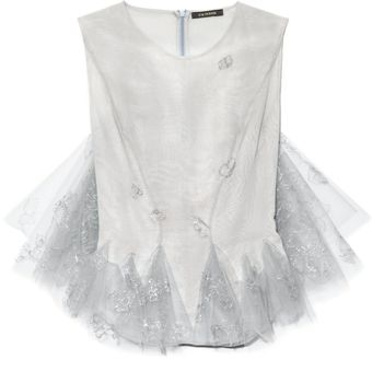 Zac Posen Hand Painted Tulle Sleeveless Top - Lyst