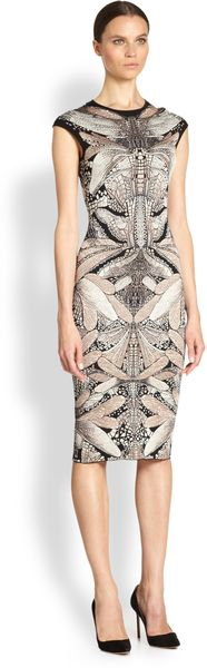 Alexander McQueen Dragonfly Wool-silk Knit Dress - Lyst
