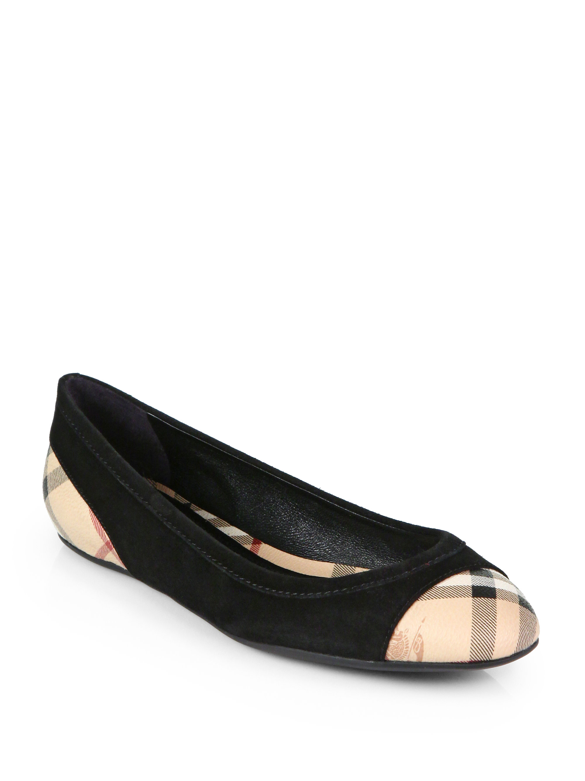 5d0183c4b63 Lyst - Burberry Highsmith Check Leather Suede Ballet Flats in Black
