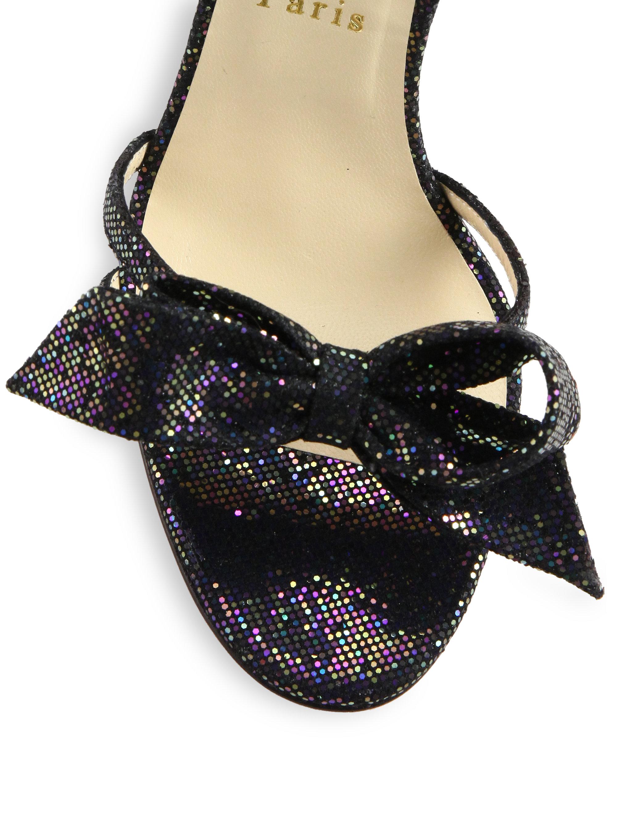 643444a84182 ... ebay lyst christian louboutin grusanda glitter bow sandals in black  af7dd c765d ...