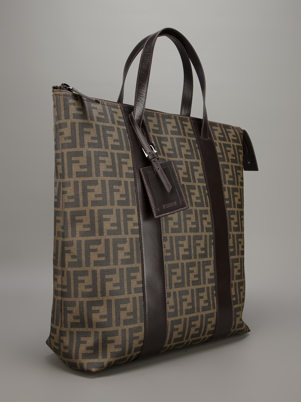 Fendi Zucca Shopper Tote In Brown For Men Lyst