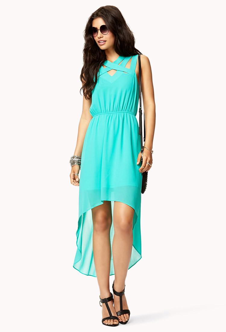 lyst forever 21 crisscross highlow dress in blue